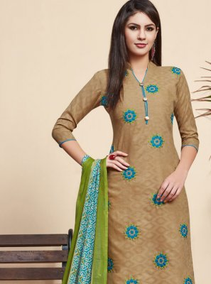 Jacquard Beige Salwar Suit