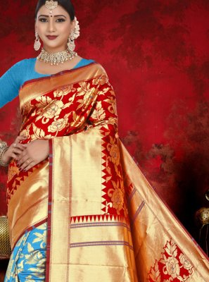 Jacquard Blue and Red Weaving Half N Half  Saree