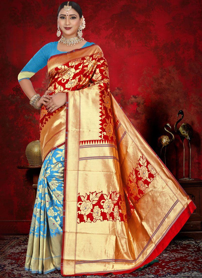 Jacquard Blue and Red Weaving Half N Half  Saree