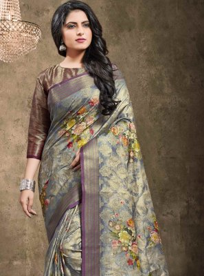 Jacquard Blue Bollywood Saree