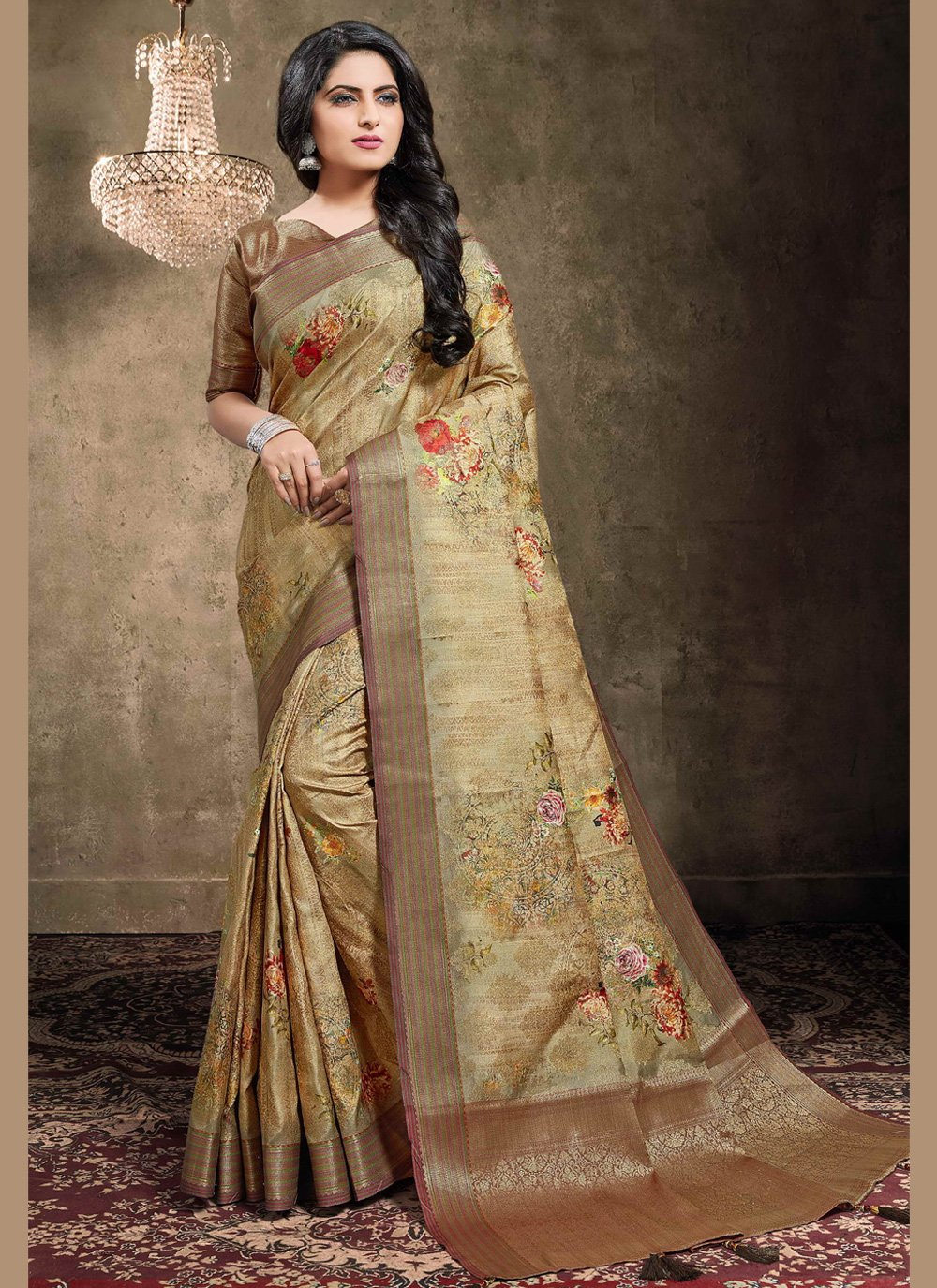 Jacquard Brown Contemporary Style Saree