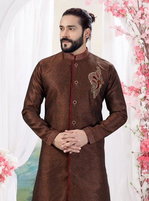 Jacquard Brown Embroidered Indo Western