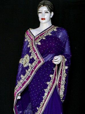 Jacquard Designer Saree in Blue