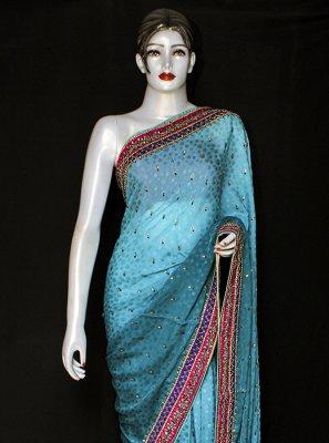 Jacquard Designer Saree in Turquoise