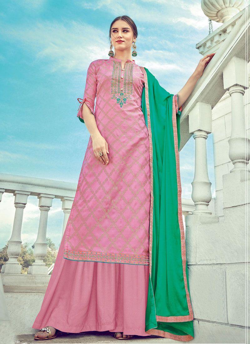Jacquard Diamond Pink Designer Palazzo Salwar Suit