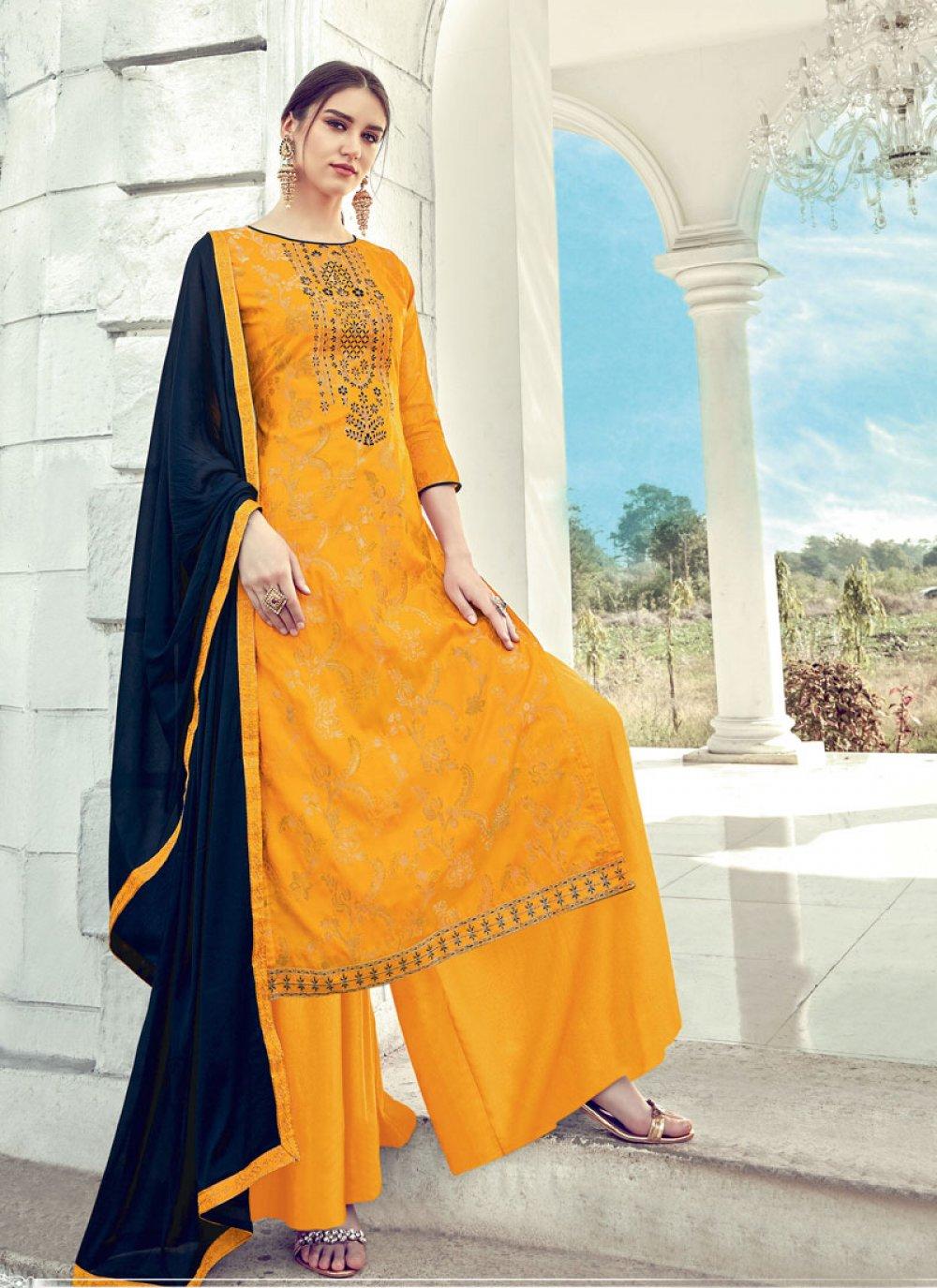 Shop Online Jacquard Diamond Yellow Designer Palazzo Salwar Suit 145934