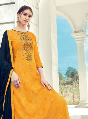 Jacquard Diamond Yellow Designer Palazzo Salwar Suit