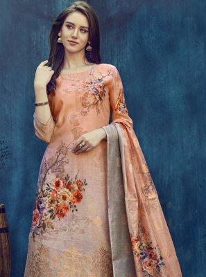 Jacquard Digital Print Multi Colour Palazzo Salwar Kameez