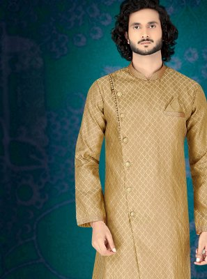 Jacquard Embroidered Beige Indo Western