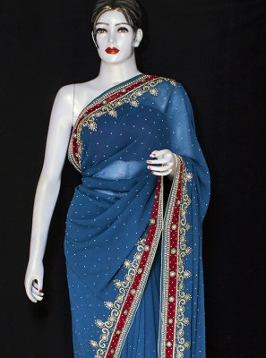 Jacquard Embroidered Black Designer Saree