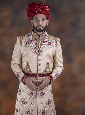 Jacquard Embroidered Cream Indo Western Sherwani