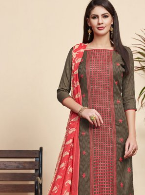 Jacquard Embroidered Grey Salwar Suit