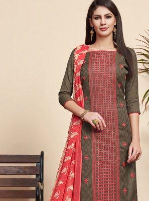 Jacquard Embroidered Grey Salwar Suit