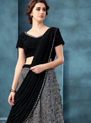 Jacquard Embroidered Grey Trendy A Line Lehenga Choli