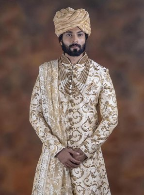 Jacquard Embroidered Indo Western Sherwani in Gold