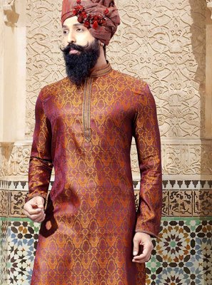 Jacquard Embroidered Kurta Pyjama in Brown