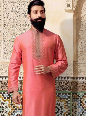 Jacquard Embroidered Kurta Pyjama in Pink