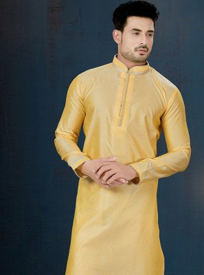 Jacquard Embroidered Kurta Pyjama in Yellow