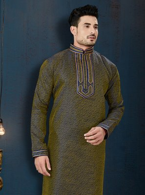 Jacquard Embroidered Navy Blue Kurta Pyjama