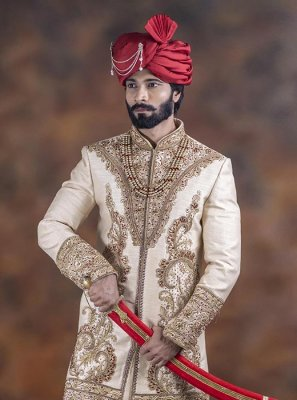 Jacquard Embroidered Off White Indo Western Sherwani
