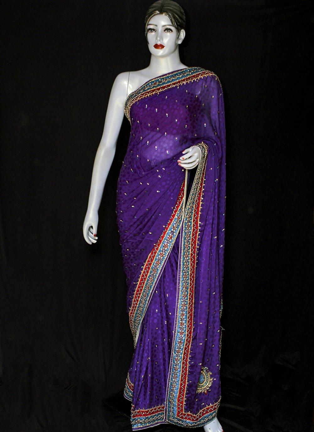 Jacquard Embroidered Purple Designer Saree