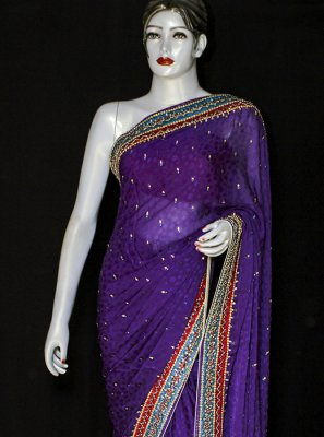 Jacquard Embroidered Purple Designer Saree