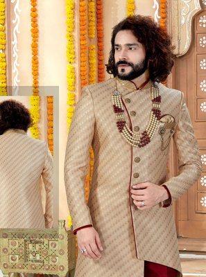 Jacquard Embroidered Sherwani in Gold