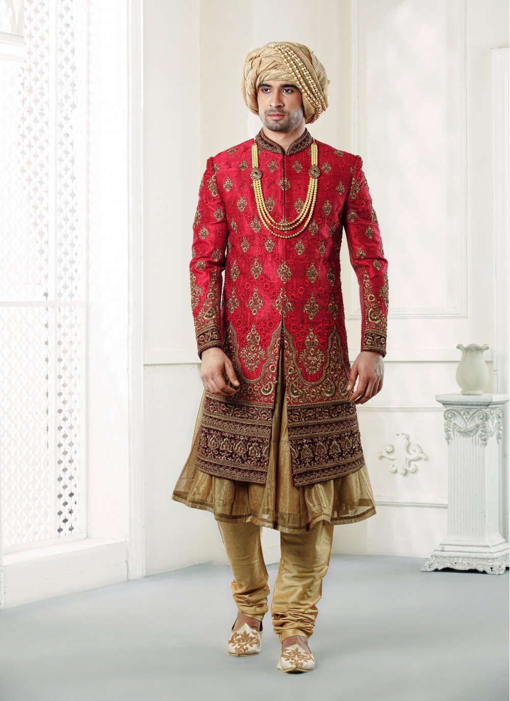 Jacquard Embroidered Sherwani in Red