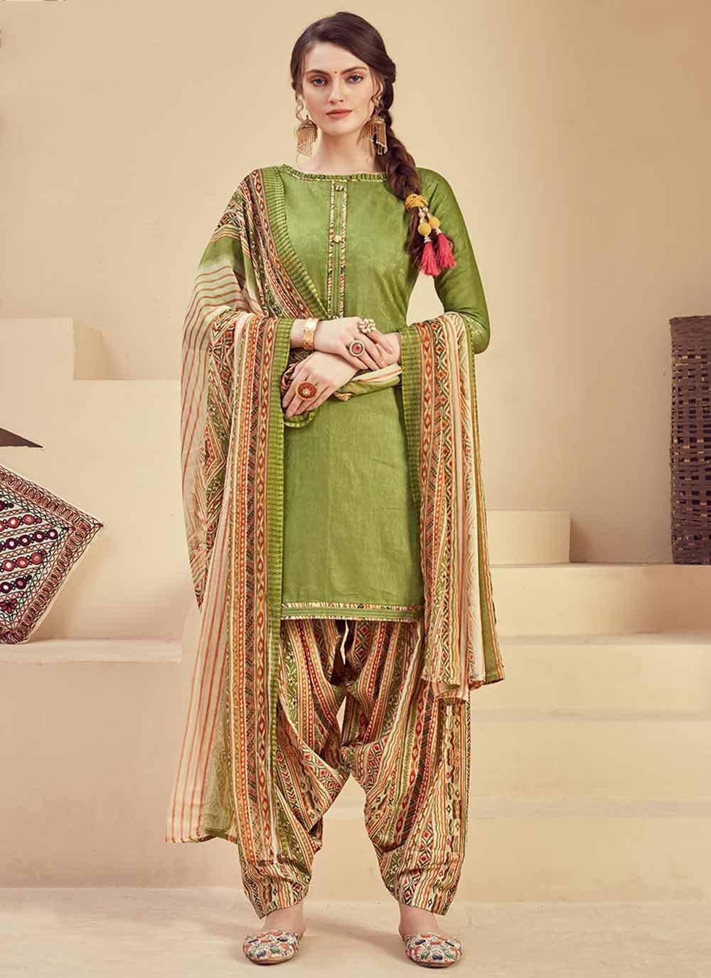 Jacquard Fancy Green Salwar Suit