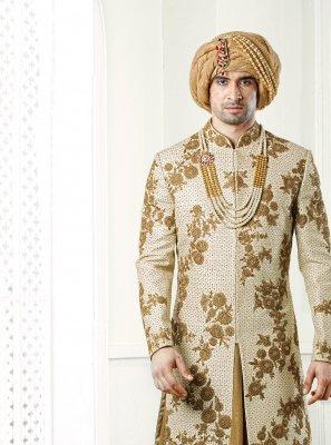 Jacquard Gold Sherwani