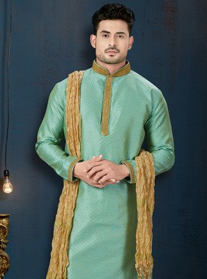 Jacquard Green Embroidered Kurta Pyjama