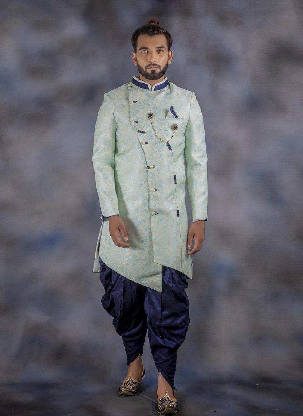 Jacquard Green Printed Indo Western