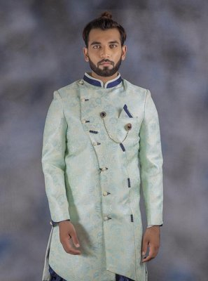 Jacquard Green Printed Indo Western