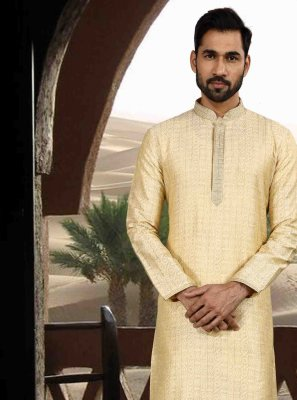 Jacquard Kurta Pyjama in Cream