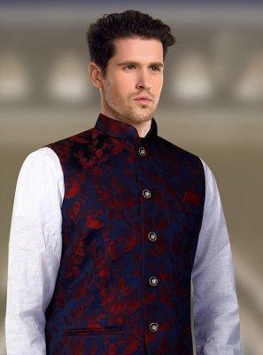 Jacquard Machine Embroidery  Blue Nehru Jackets