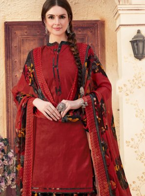Jacquard Maroon Abstract Print Patiala Suit