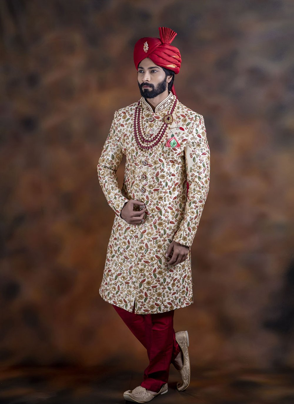 Jacquard Multi Colour Embroidered Indo Western Sherwani