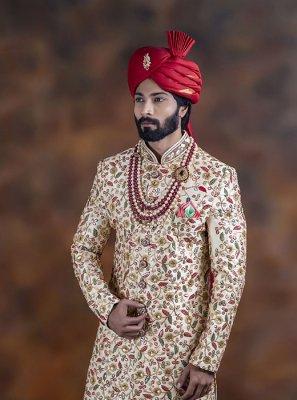 Jacquard Multi Colour Embroidered Indo Western Sherwani