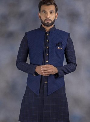 Jacquard Navy Blue Printed Indo Western