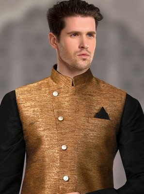 Jacquard Nehru Jackets in Gold