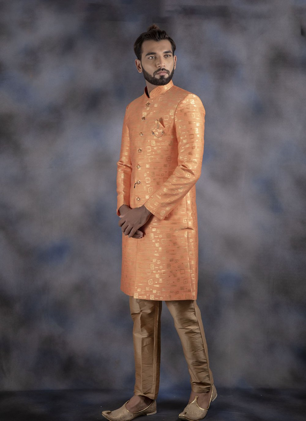 Jacquard Orange Printed Indo Western