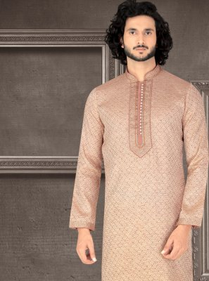 Jacquard Peach Embroidered Kurta Pyjama