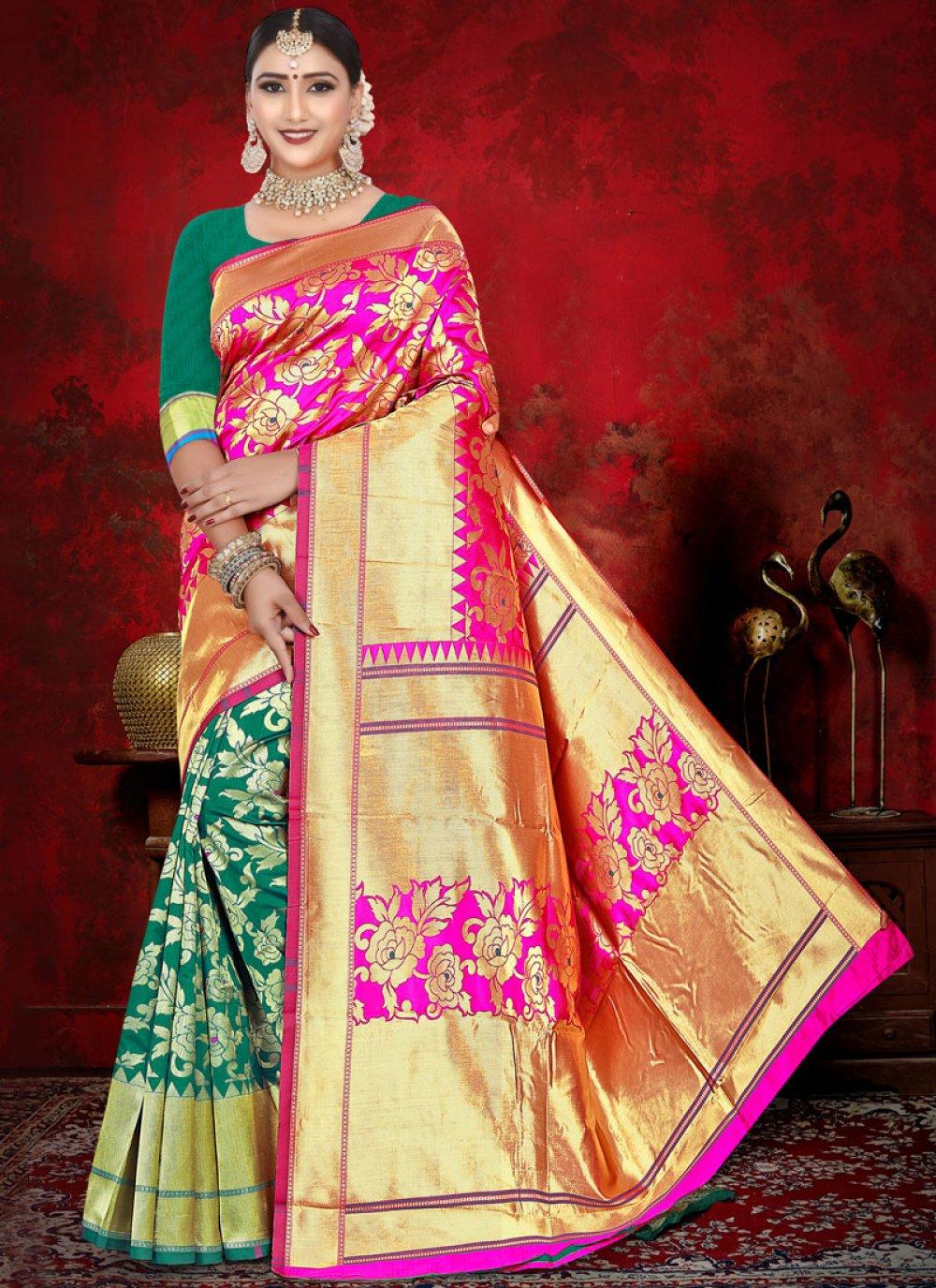 Jacquard Pink and Sea Green Weaving Half N Half  Saree