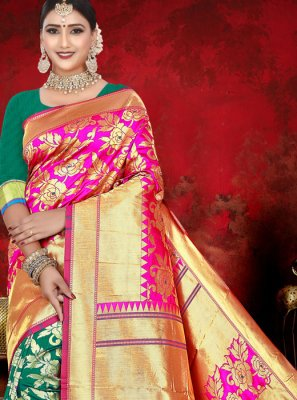 Jacquard Pink and Sea Green Weaving Half N Half  Saree