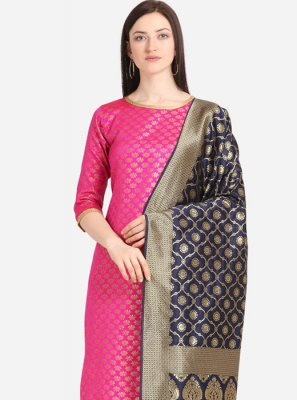 Jacquard Pink Weaving Churidar Designer Suit
