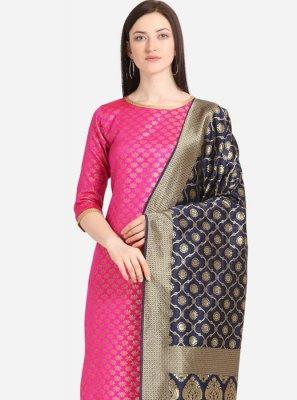 Jacquard Pink Weaving Churidar Designer Suit