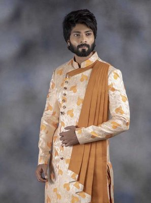Jacquard Printed Indo Western in Cream