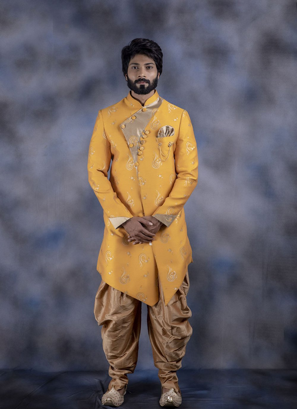 Jacquard Printed Indo Western in Yellow