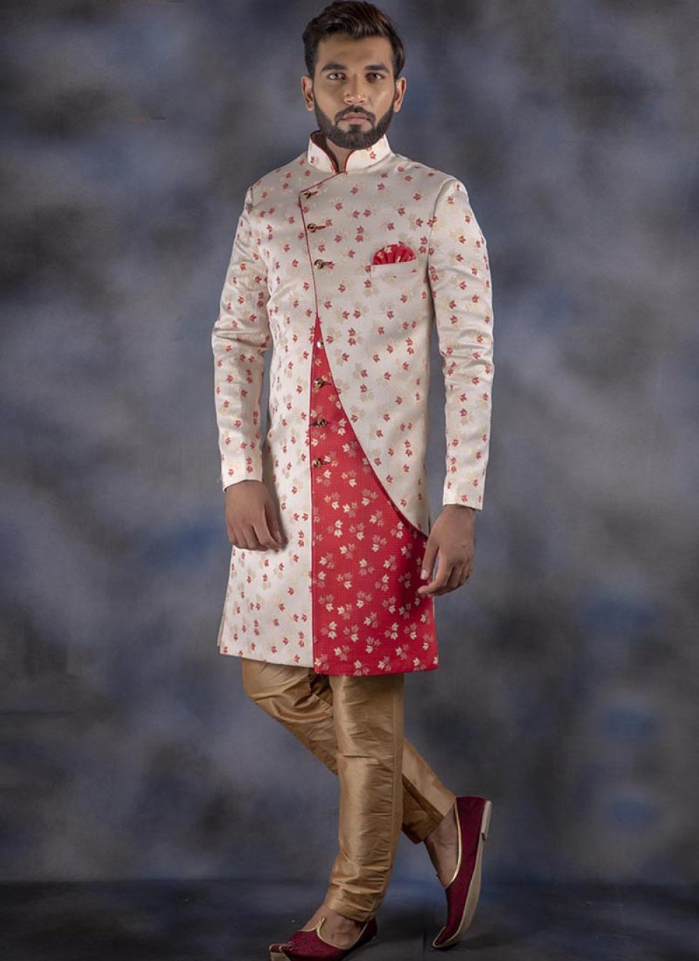 Jacquard Printed Off White and Red Indo Western
