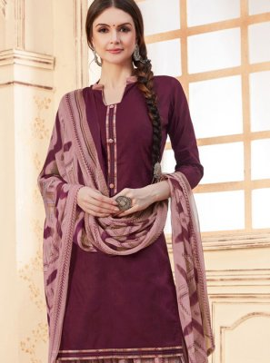 Jacquard Purple Patiala Suit